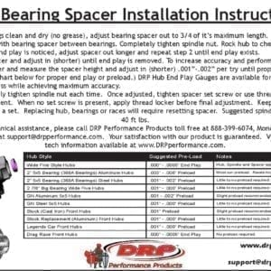 DRP bearing spacer instructions
